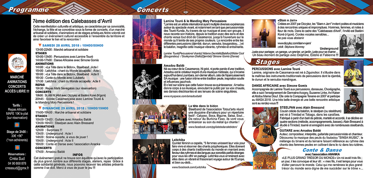 PROGRAMME Calebasses 2018 page 1